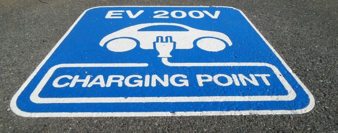 A signage for electric vehicle charging point. This will be key for automobile industry